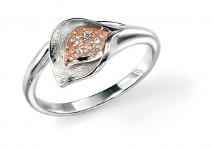 Silver Flower Ring With Rose Gold
